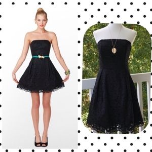 Lilly Pulitzer Black Lace Strapless Marielle Dress